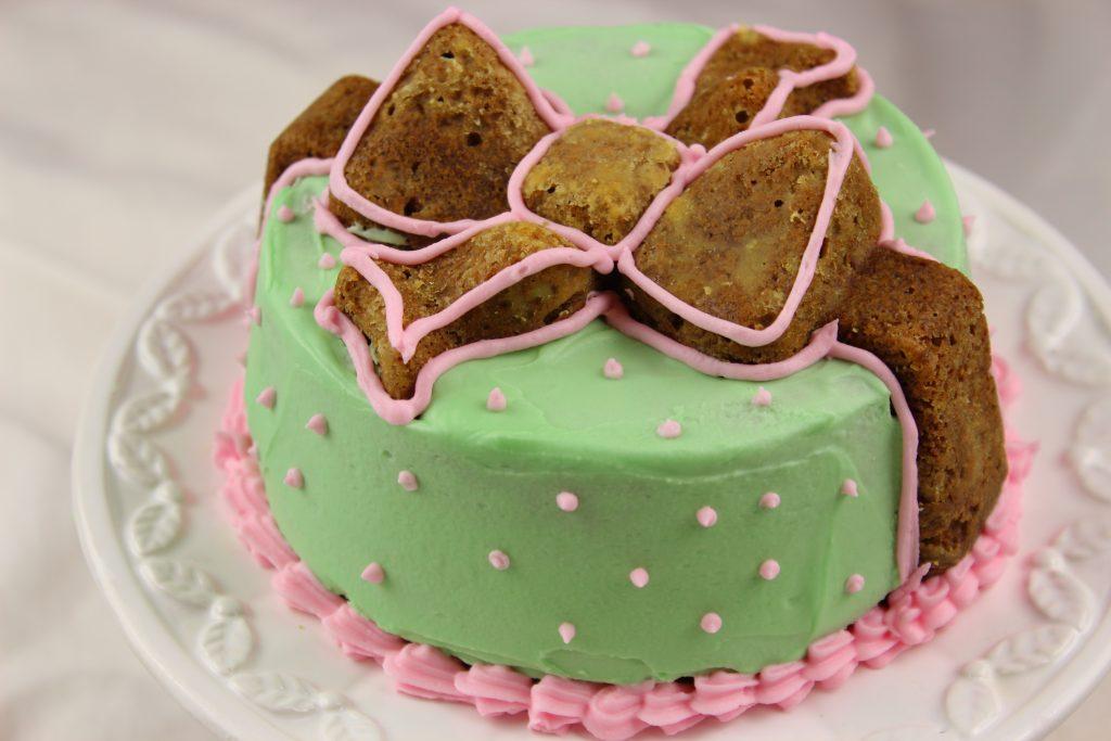 Tea matcha cake decorated