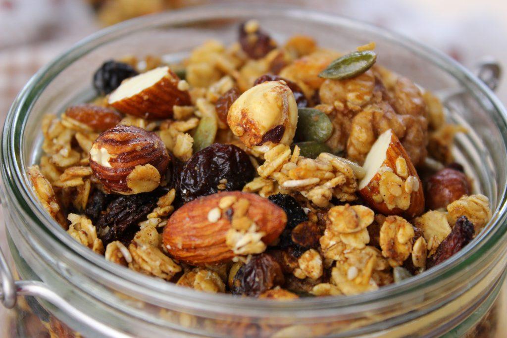 Crunchy granola with almonds and hazelnuts