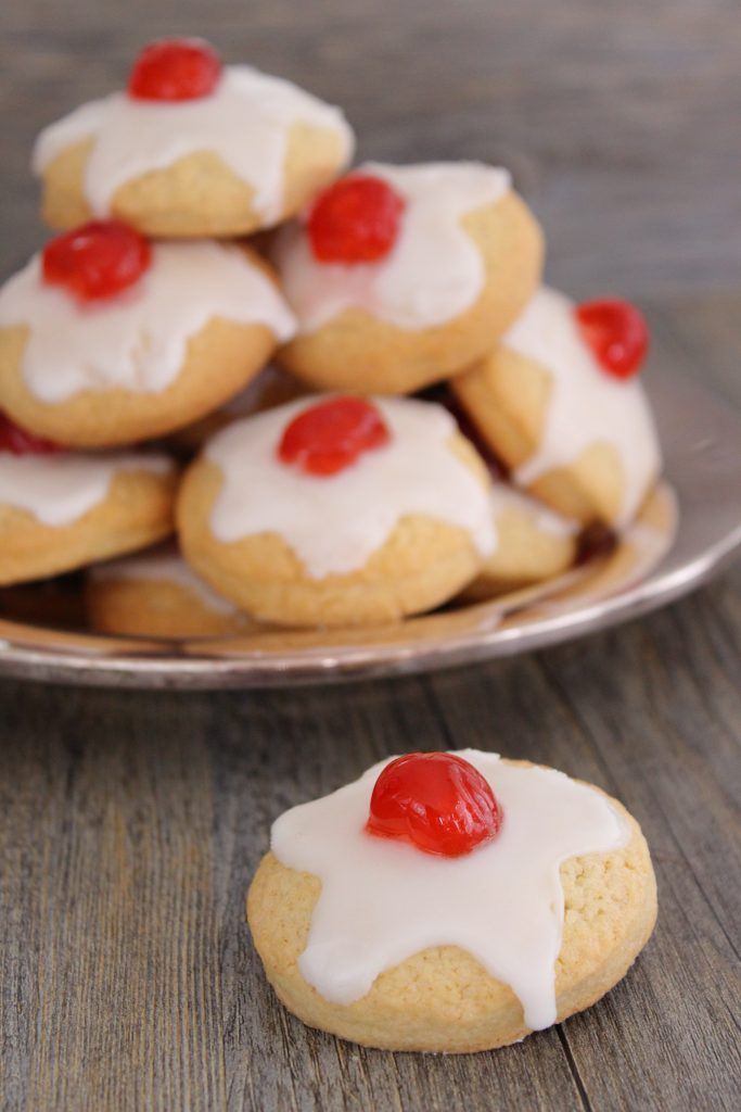 Empire cookies with candied cherries