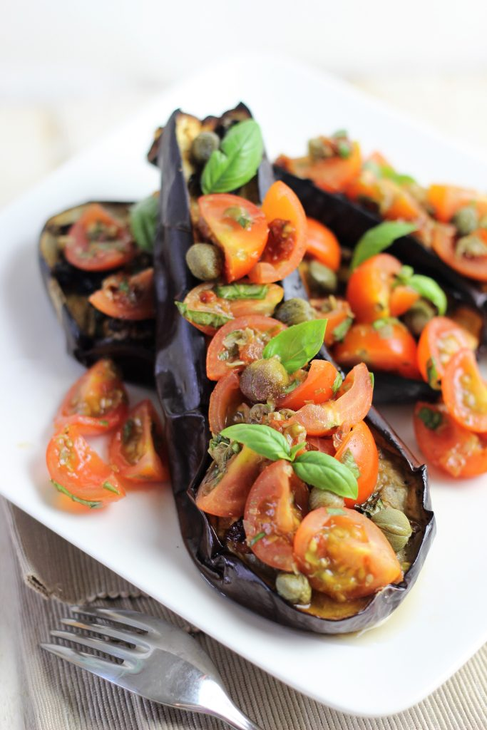 Aubergines with tomatoes, capers and basil
