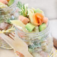 Pasta salad with salmon, avocado and ricotta