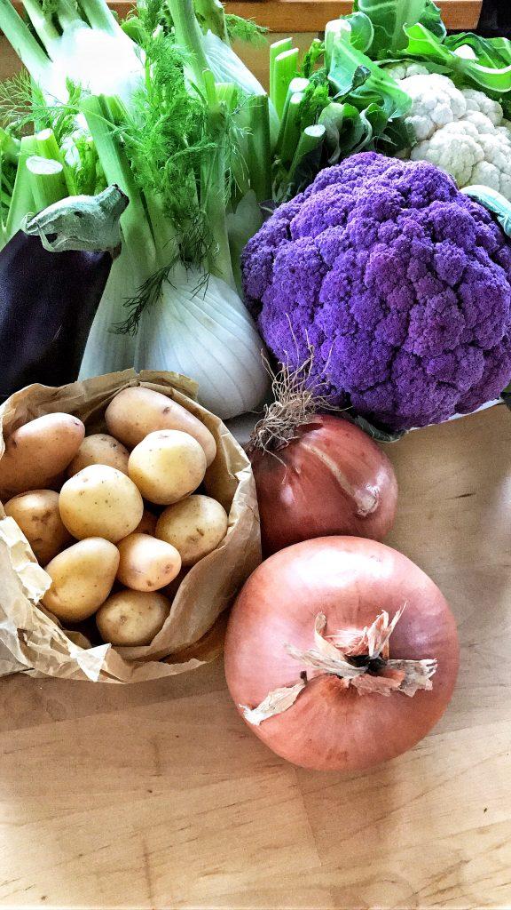 Purplr cauliflower and mixed fresh vegetables