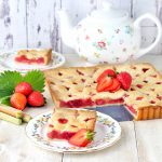 Rhubarb and strawberry tart