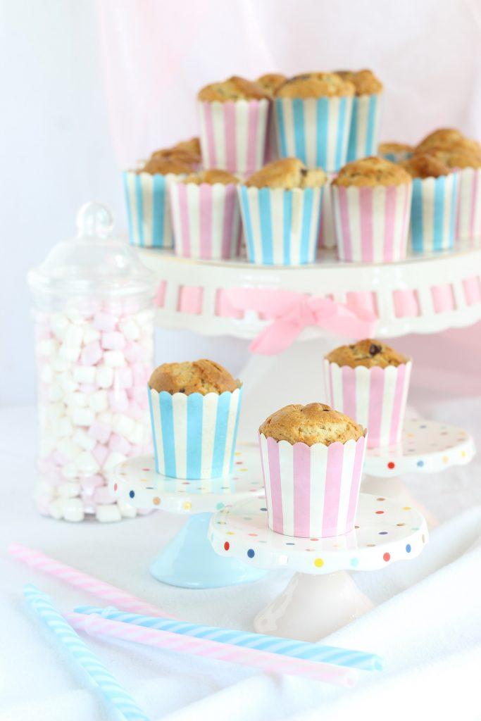 Muffin banana e cioccolato con marshmallow