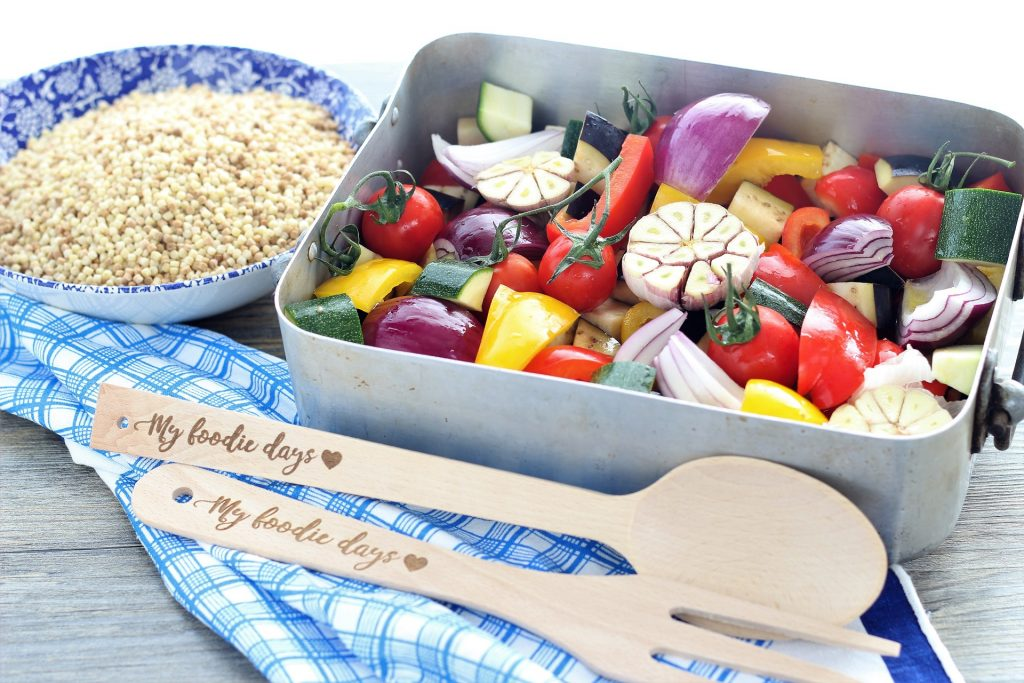 Mixed vegetables in the baking tray