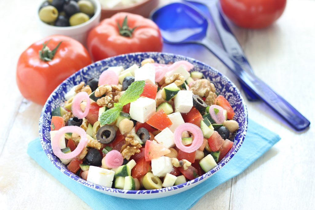Greek salad with olives and onion