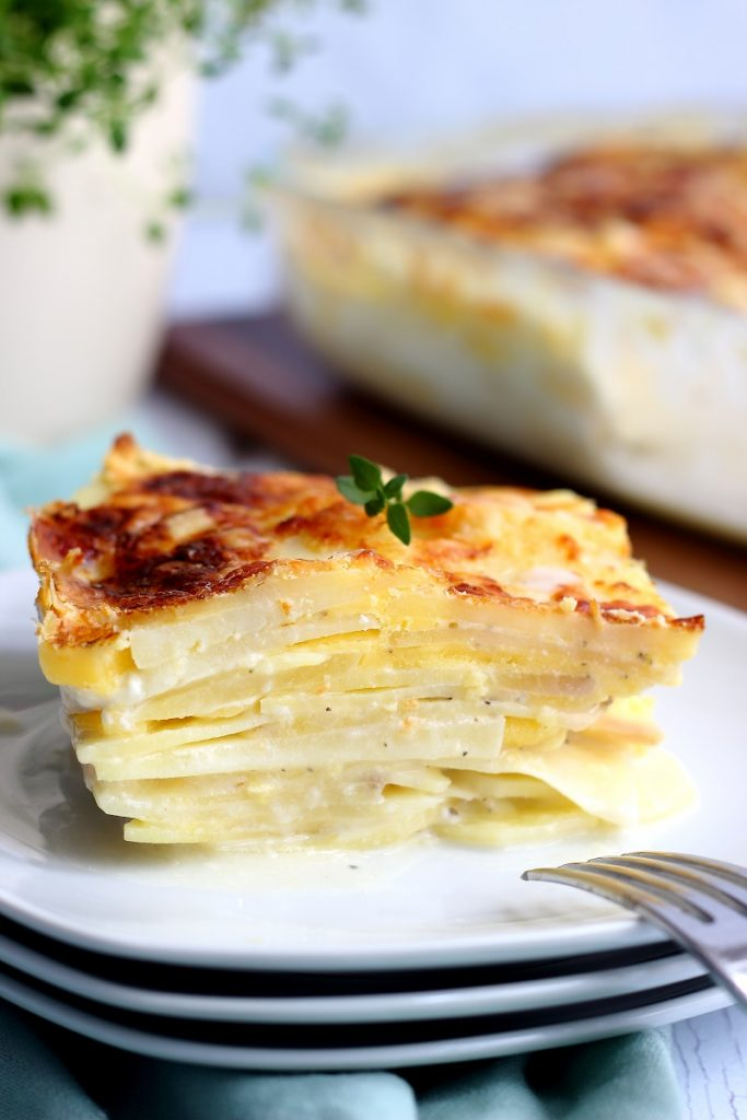 Potatoes dauphinoise with cheese - close up
