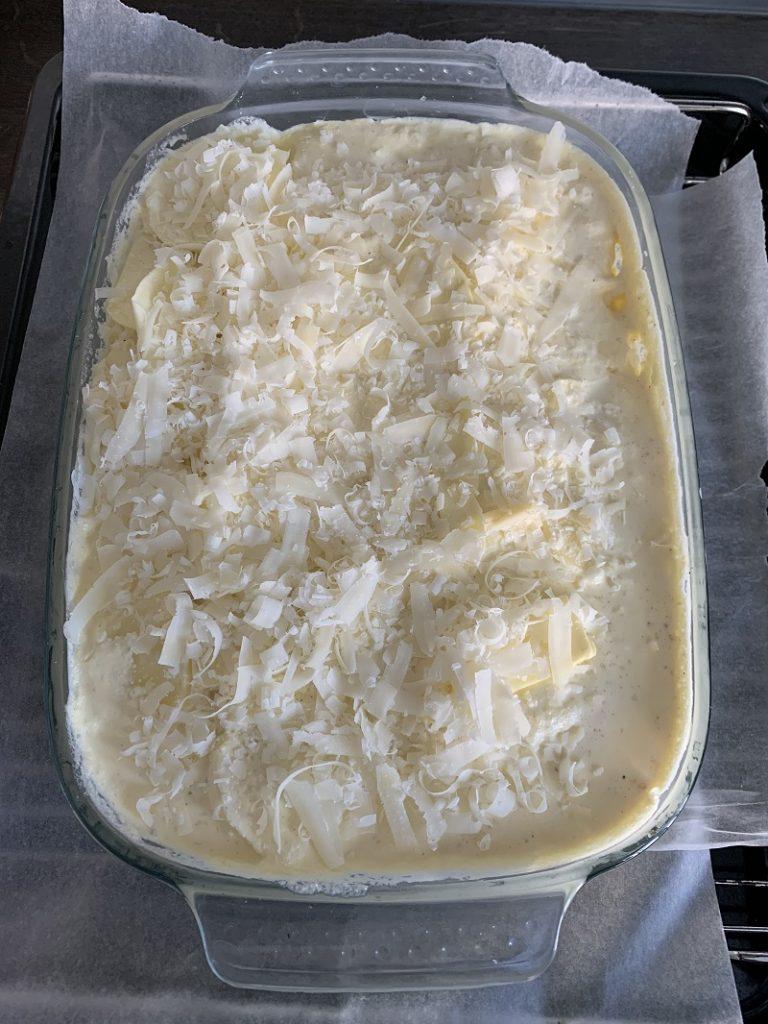 Procedimento - ultimo strato con panna, formaggi e burro