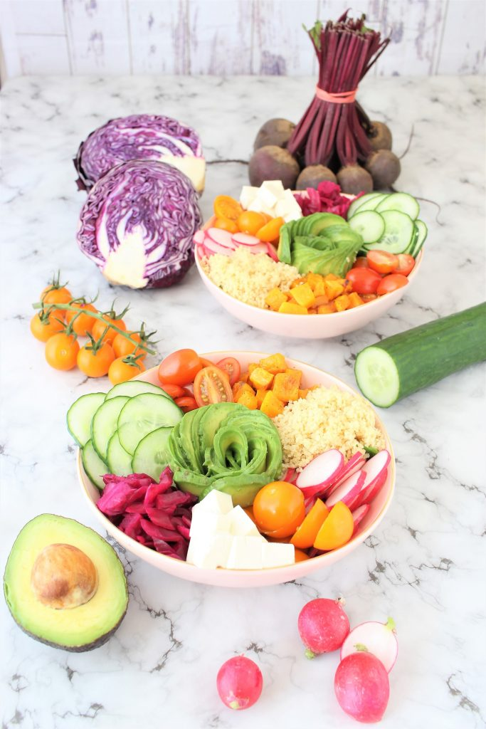 uddha bowl con verdure miste e tofu