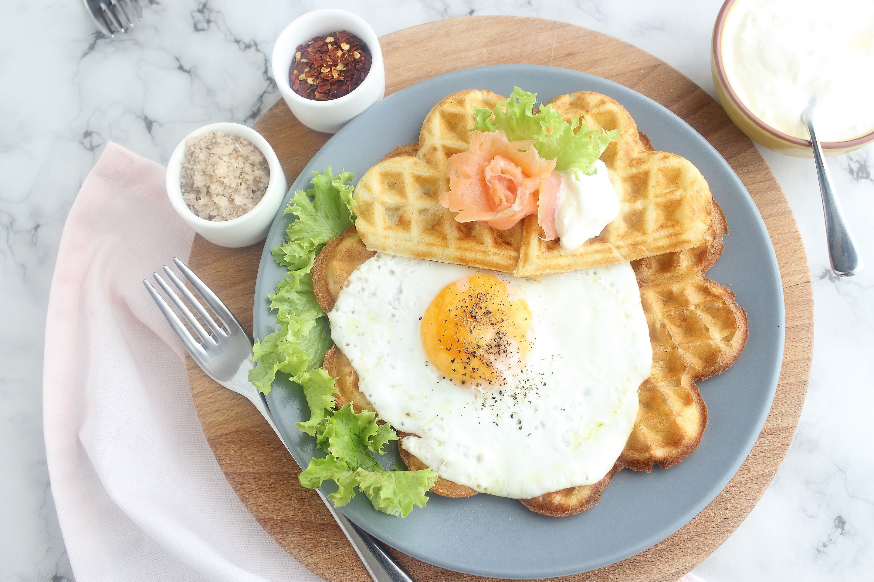 Cheese, egg and smoked salmon waffles