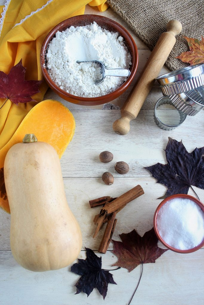 Ingredienti per pumpkin pie - flatlay