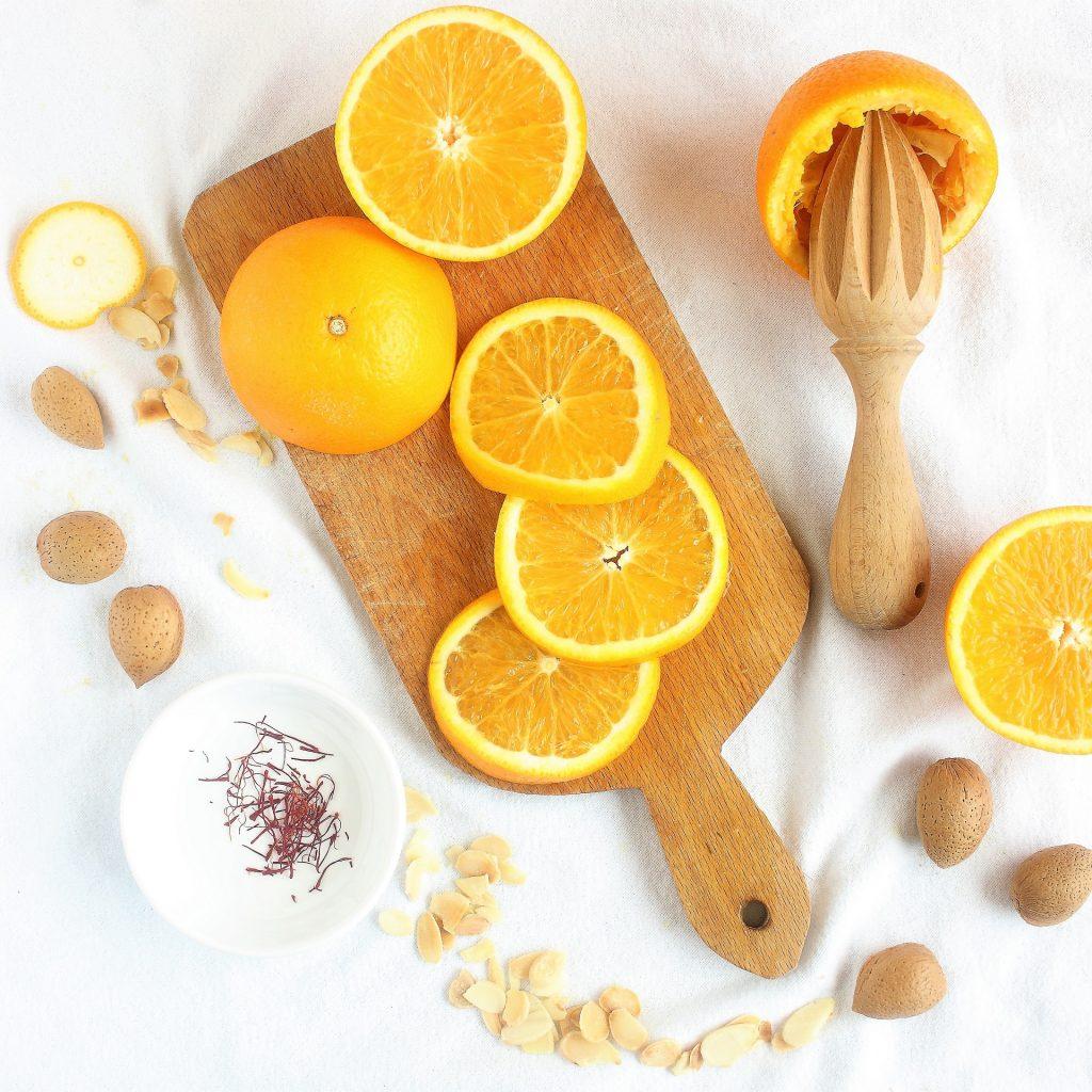Ingredienti per torta all'arancia - flatlay