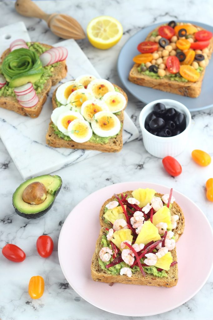 Avocado toast with boiled egg and olives