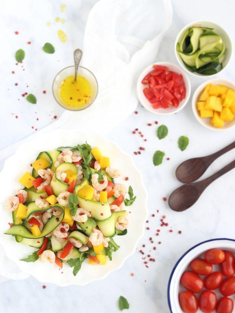 Mango and prawn salad - flatlay