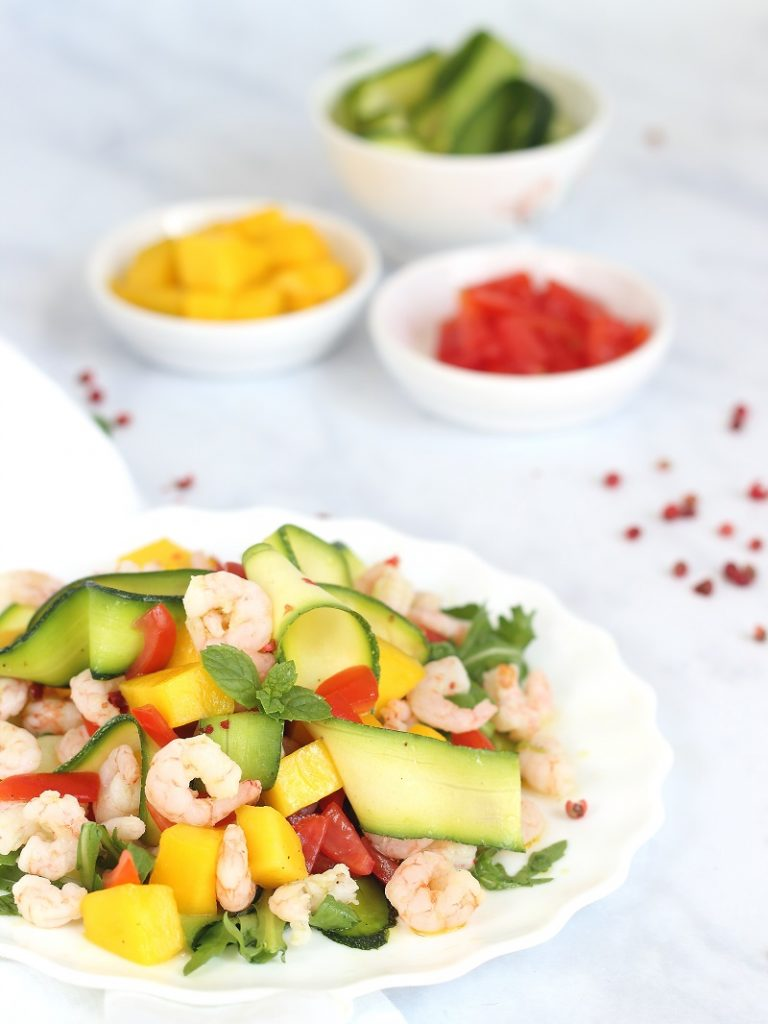 Prawns, mango and courgette salad - close up