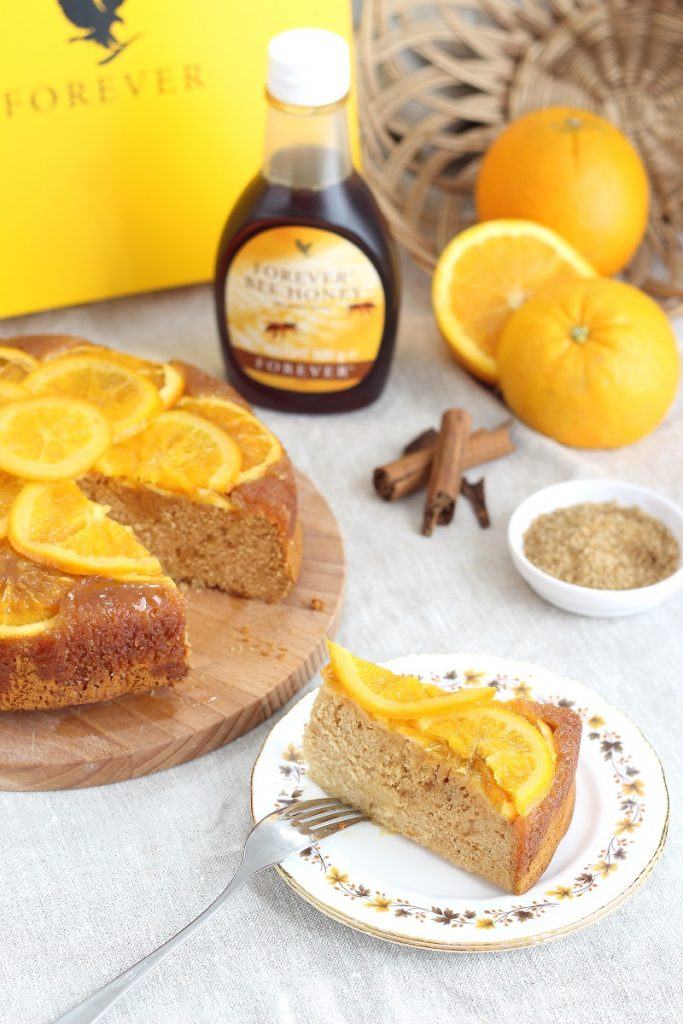 Honey&orange cake - slice close up