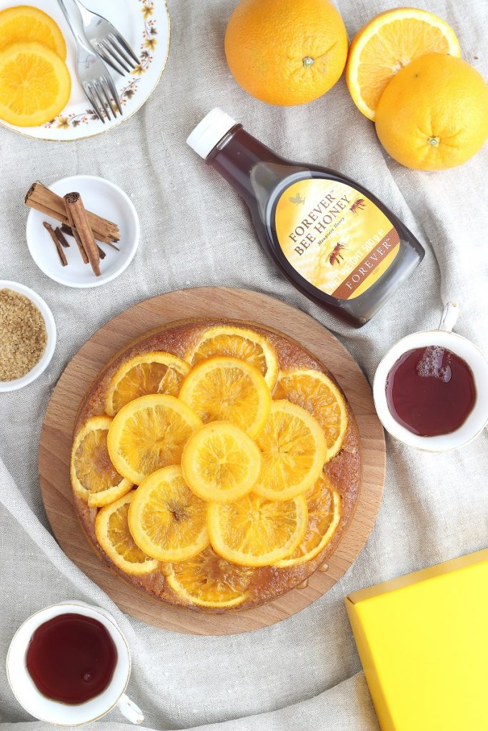 Orange and honey cake - flatlay with tea
