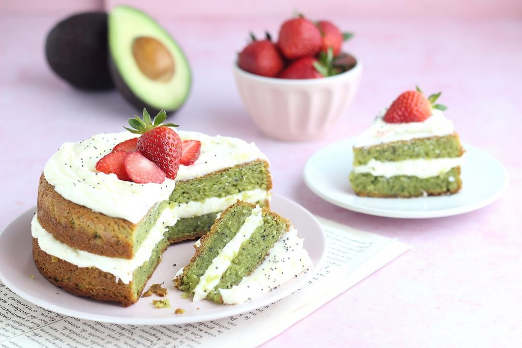 Avocado cake with strawberries