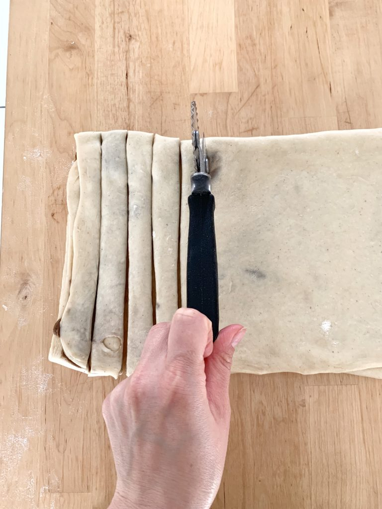 Cutting the dough into strips