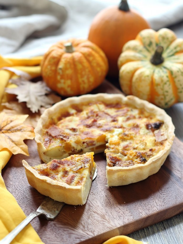 Butternut squash, potato and pancetta tart - sliced