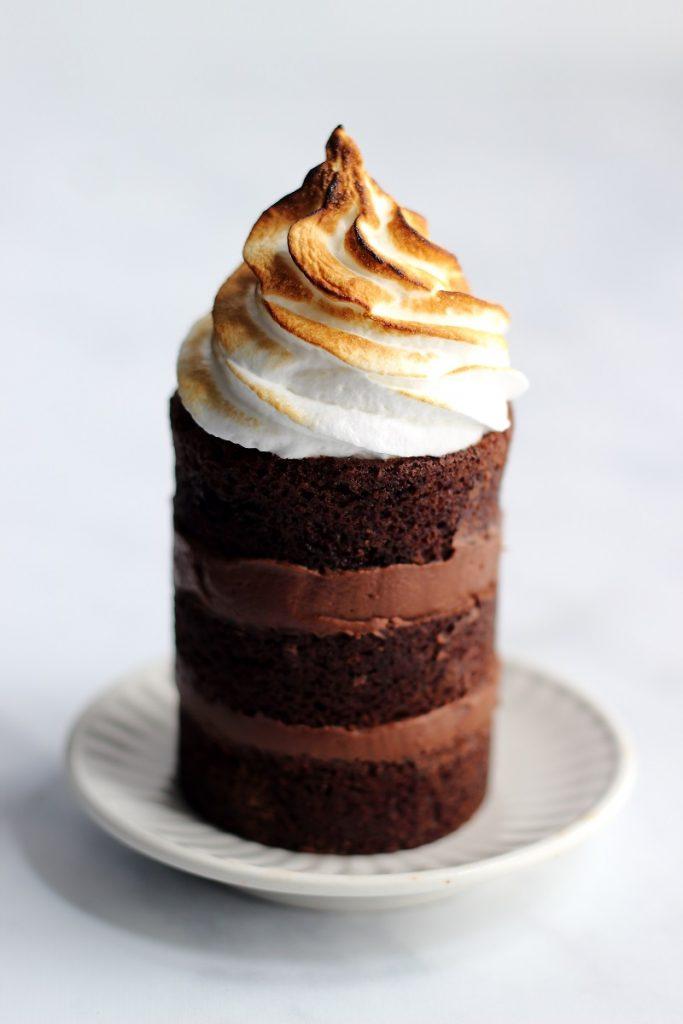 Mini chocolate sour cakes - close up