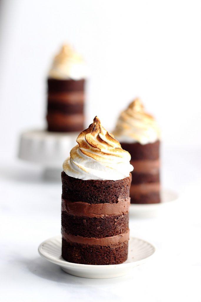 Sour cream chocolate cake with meringue