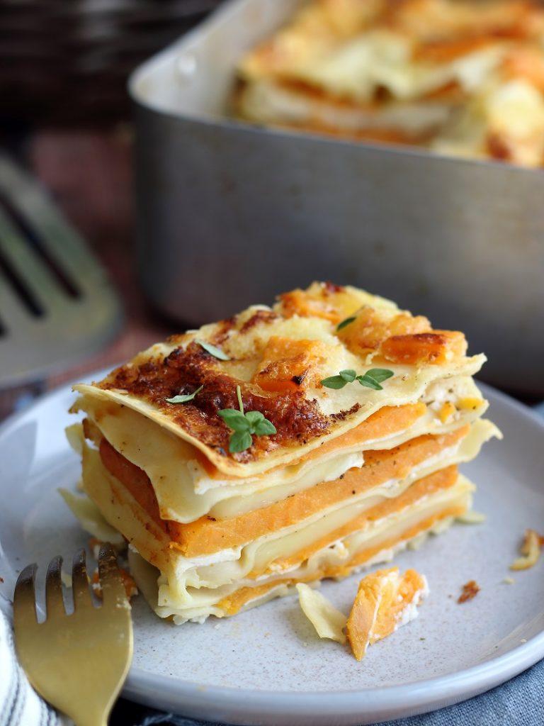 Lasagne con patate dolci e ricotta - close up