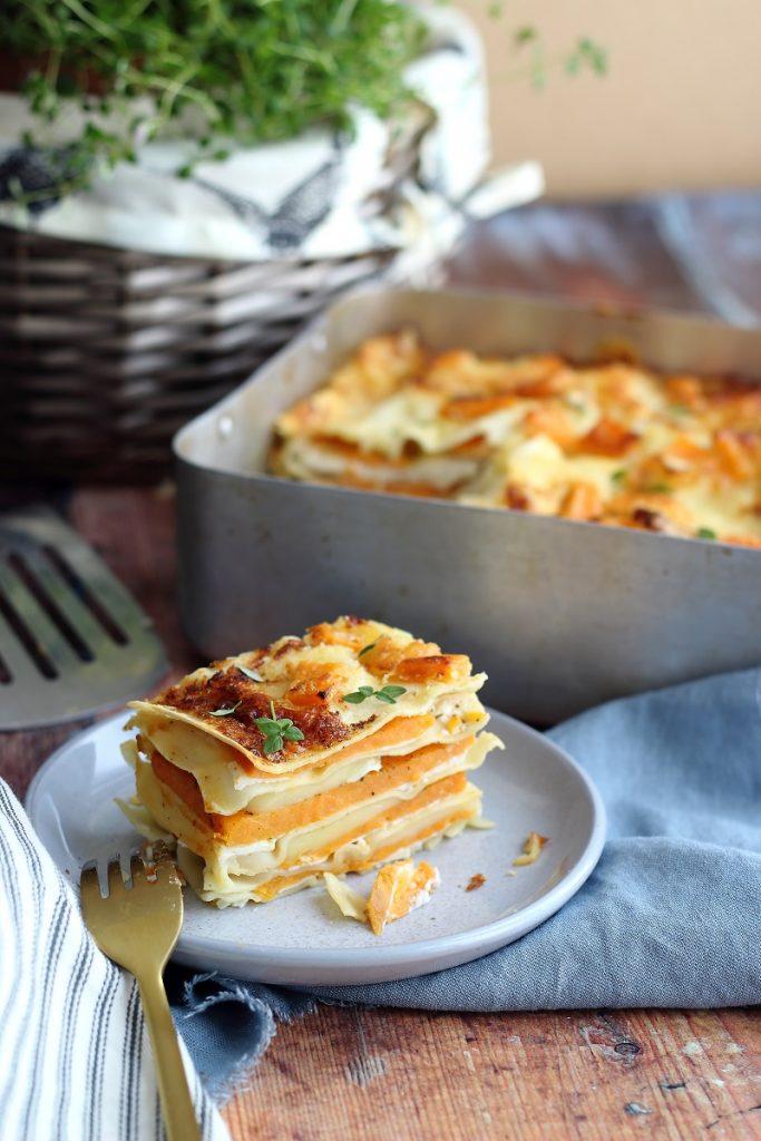 Lasagne con patate dolci, ricotta e Brie - fetta