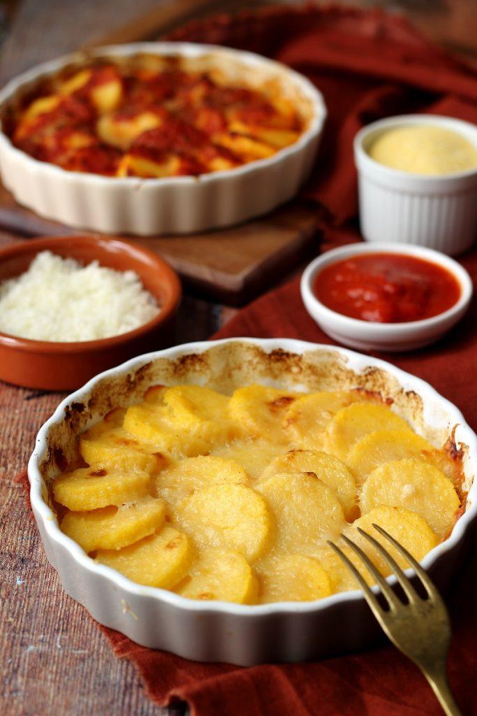 Gnocchi di polenta al forno in bianco - close up