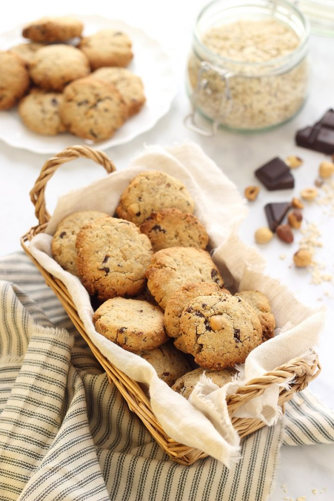 Oat and coconut cookies with chocolate