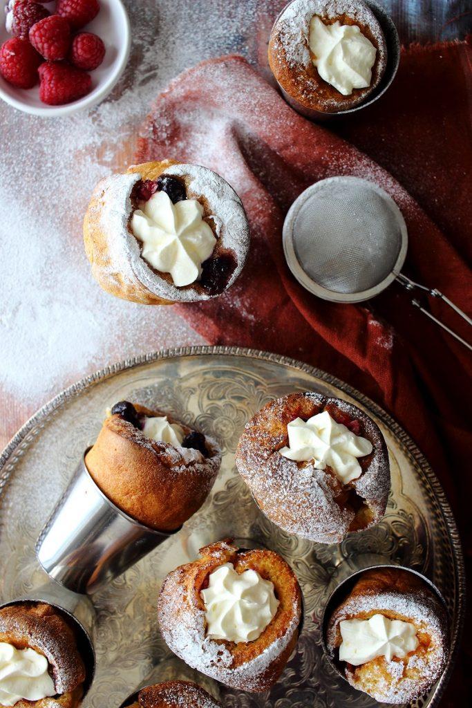 Popovers with cream - flatlay