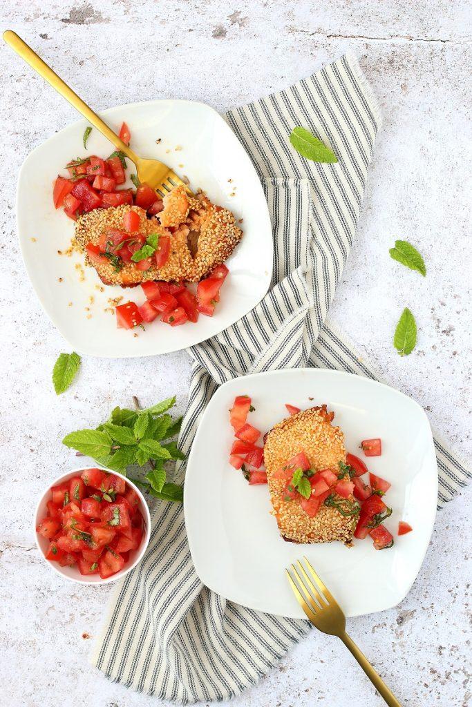 Salmone fresco al sesamo senza glutine - flatlay