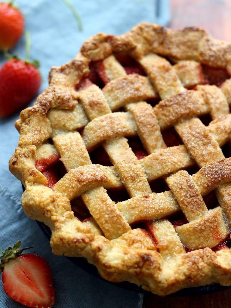Strawberry lattice pie - close up flatlay