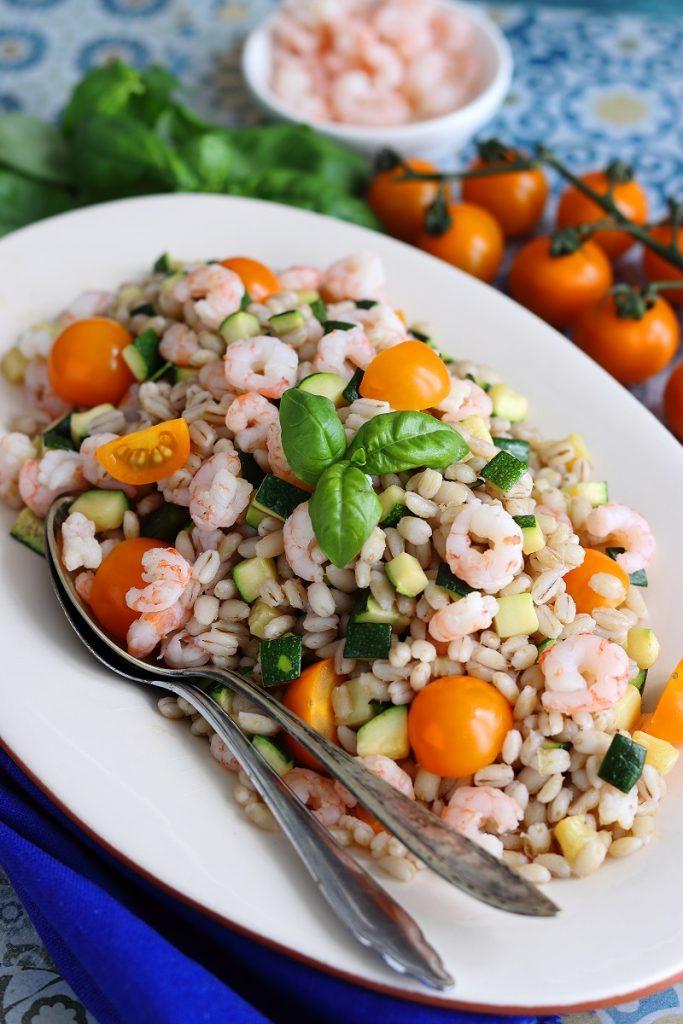 Farro gamberetti e zucchine - close up