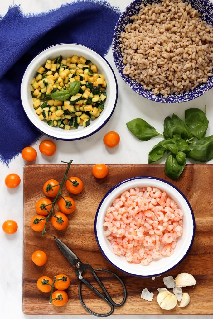 Ingredienti per insalata di farro