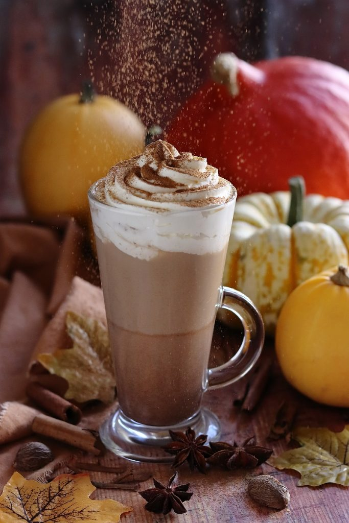 Pumpkin spice latte sprinkled with spices