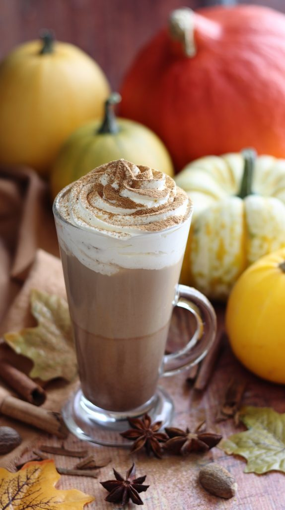 Pumpkin spice latte with whipped cream - close up