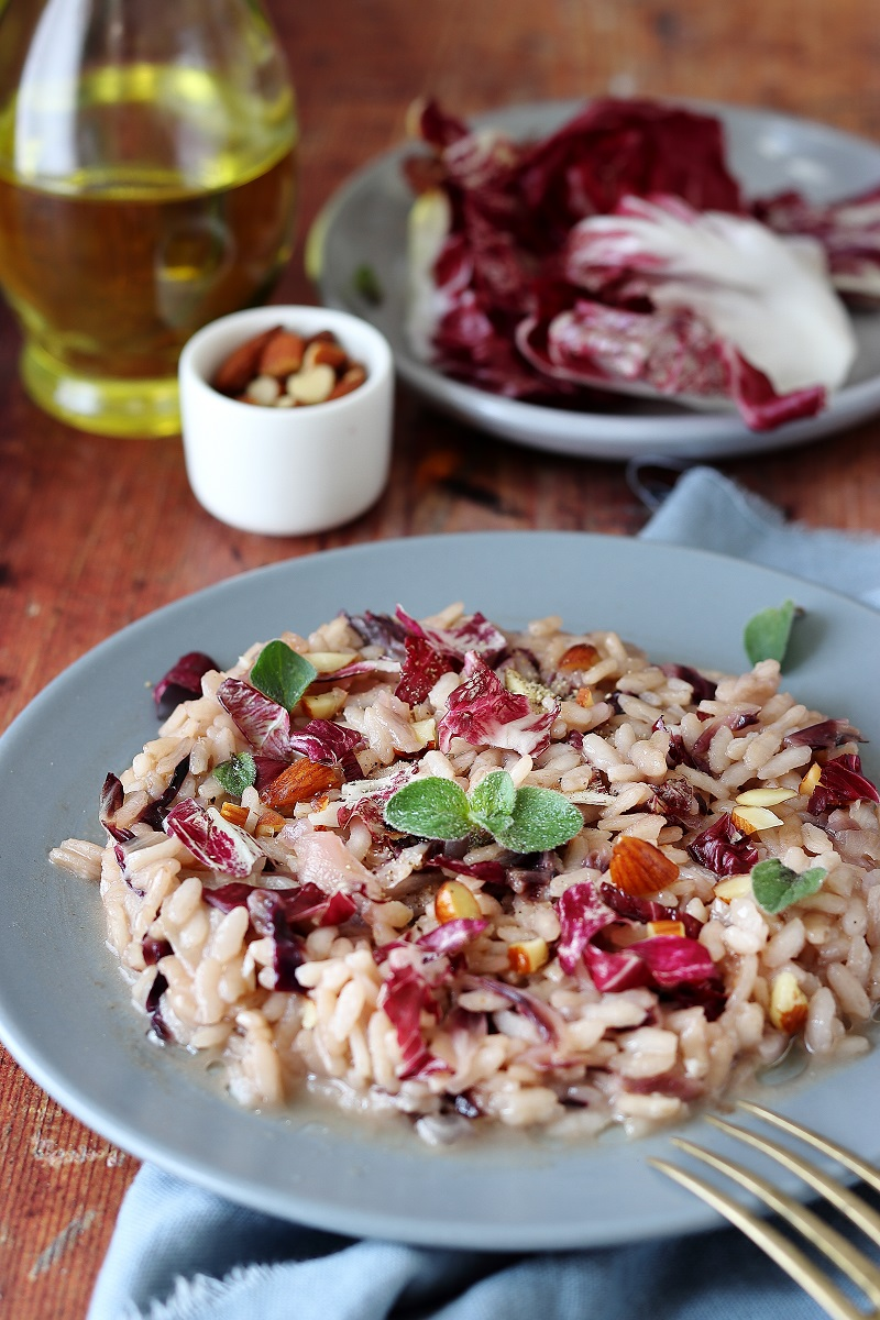 Risotto al radicchio close up