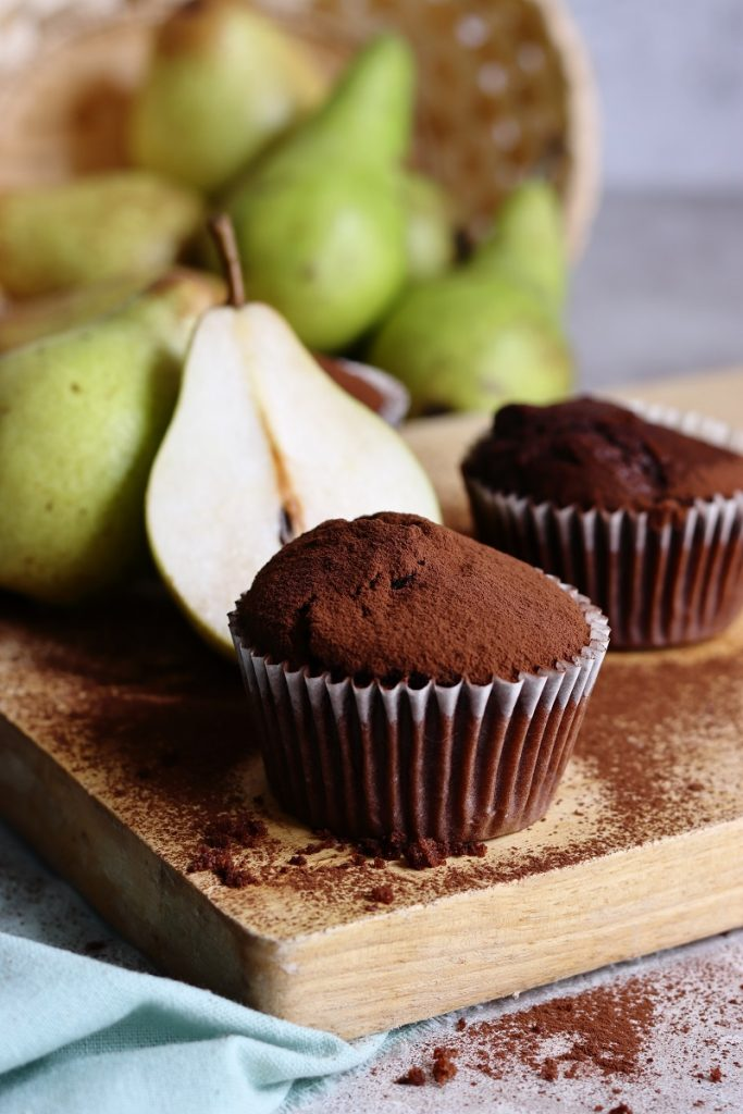 Easy chocolate and pear muffins - close up