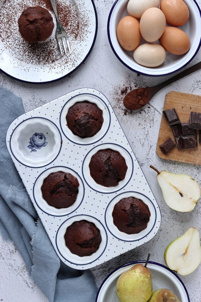Pear and chocolate muffins - flat lay
