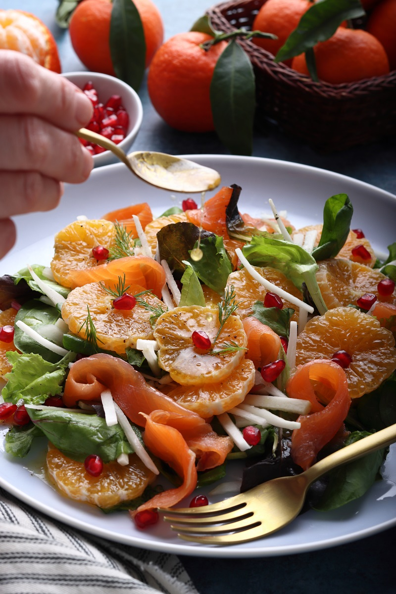 Clementine and Jerusalem artichoke salad - close up