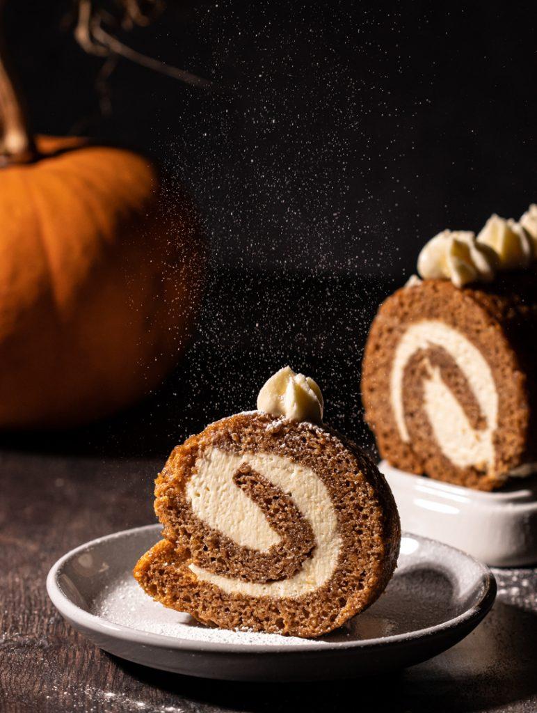 Pumpkin roll con zucchero al velo